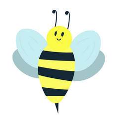 cartoon sweet yellow bee summer worker bug with vector image