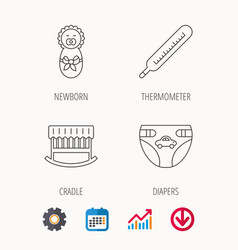 Newborn diapers and thermometer icons vector