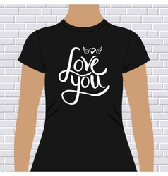 Black shirt with love you message and winged heart vector