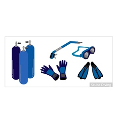 Set of underwater diving equipment on white vector