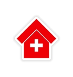 Icon sticker realistic design on paper hospital vector