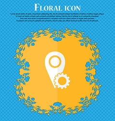 Map pointer setting icon sign floral flat design vector