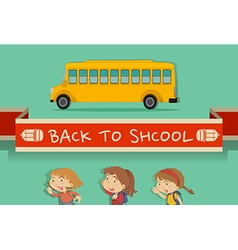 Back to school theme with students and bus vector image