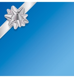 Blue present background with silver ribbon and bow vector