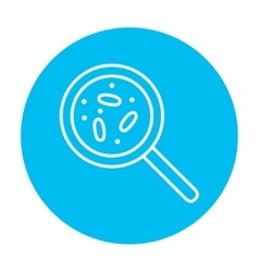 Microorganisms under magnifier line icon vector