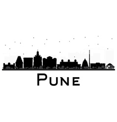 Pune skyline black and white silhouette vector
