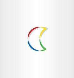 Half moon colorful icon symbol vector