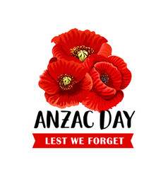 Anzac remembrance day icon with red poppy flower vector