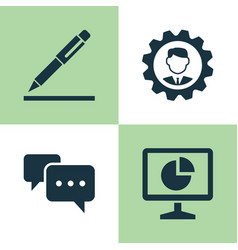 Business icons set collection of pen chatting vector