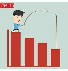 Business man pull bar chart - - EPS10 vector image