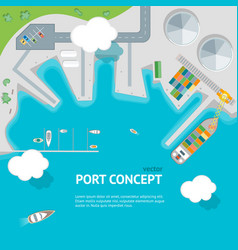 cartoon port town and barge ship concept banner vector image vector image
