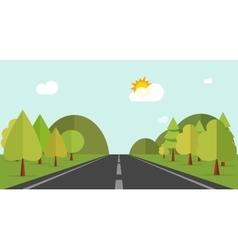 Cartoon road across green forest hills mountains vector