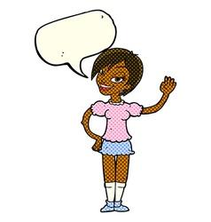 cartoon waving woman with speech bubble vector image vector image