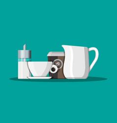 Coffee on saucer milk jug sugar dispenser vector