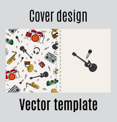 cover design with music instrument pattern vector image vector image