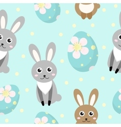 Cute Easter seamless pattern with rabbit and eggs vector image vector image