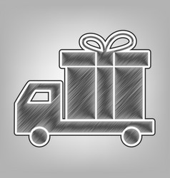 delivery gift sign pencil sketch vector image