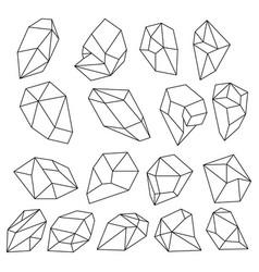 Diamond 3d shapes natural crystals outline gem vector