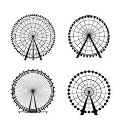 Ferris Wheel from amusement park silhouette vector image