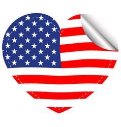 Flag of america in heart shape vector