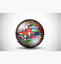 Flags of all countries in the form of 3D spheres vector image