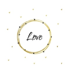 Gold Circle and Heart Card vector image vector image