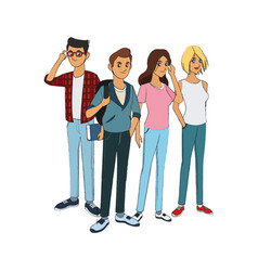Group of young handsome men and women icon image vector