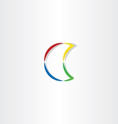 half moon colorful icon symbol vector image