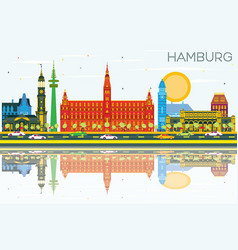 hamburg skyline with color buildings blue sky and vector image