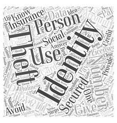 How to prevent identity theft word cloud concept vector