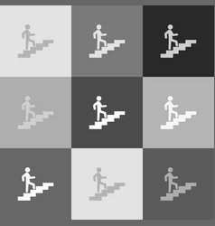 man on stairs going up grayscale version vector image