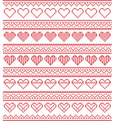 Nordic style pattern with hearts vector