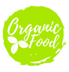 organic food label font with brush food vector image vector image