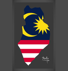 perlis malaysia map with malaysian national flag vector image vector image