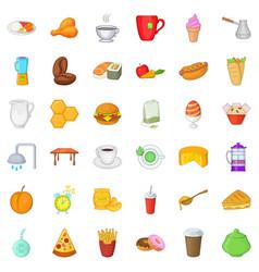Tasty breakfast icons set cartoon style vector