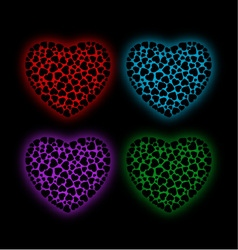 Valentine hearts glowing in the dark vector
