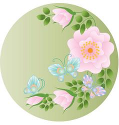 Wild rose flowers and butterflies vector