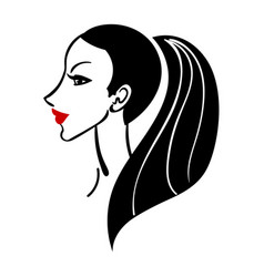 Women long hair style icon vector