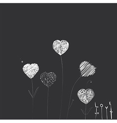 Heart-flowers vector