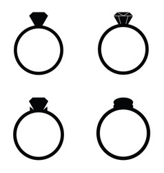 Wedding rings icons set vector