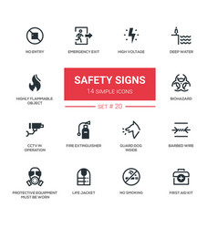 Safety signs - modern simple icons pictograms set vector