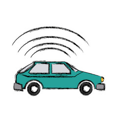 Automobile with signal waves mobile apps web vector