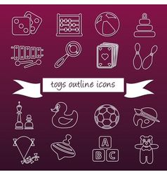 Toys outline icons vector