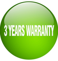 3 years warranty green round gel isolated push vector