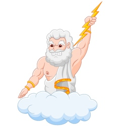 Cartoon zeus holding thunderbolt vector