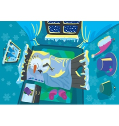 snowman sleeps in the room vector image