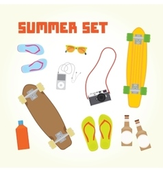 Summer objects isolated set vector