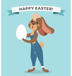 Greeting card easter rabbit girl vector