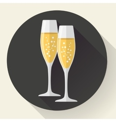 Two glasses of champagne icon in the flat style vector