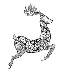 Zentangle reindeer for adult anti stress vector
